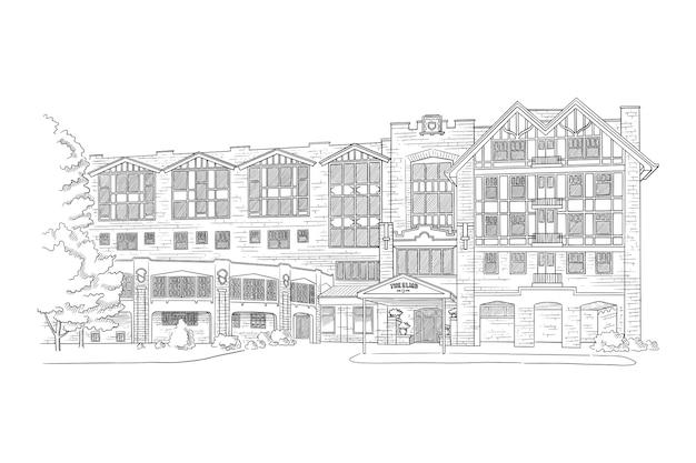 Ilustração com mansão de estilo