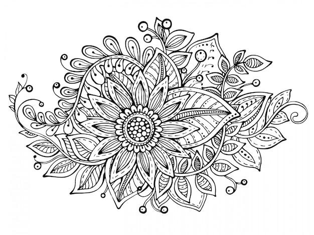 Ilustração com mão desenhada doodle buquê de flores chiques