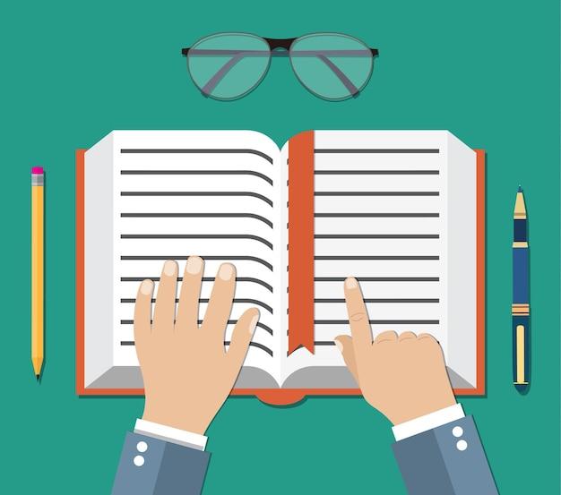 Ilustração com mão e livro em estilo simples