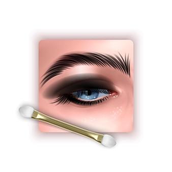 Ilustração com maquiagem realista de olhos azuis e olhos esfumados