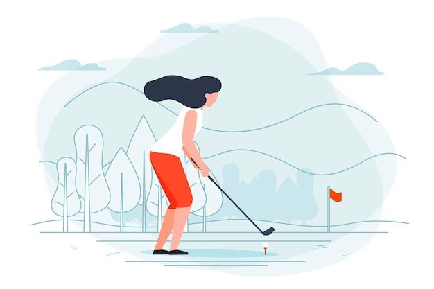 Ilustração com menina jogando golfe