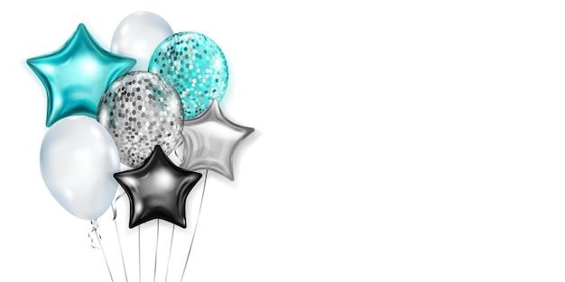 Ilustração com monte de balões brilhantes nas cores azul claro, prata e preto, redondos e em forma de estrelas, com fitas e sombras, sobre fundo branco