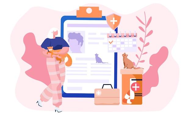 Ilustração com mulher segurando um gato nas mãos