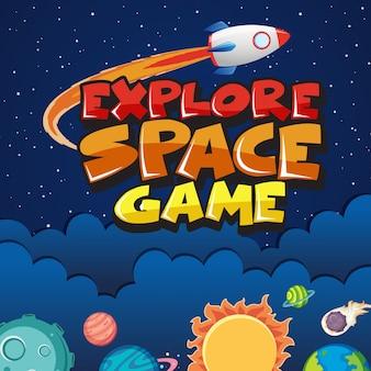 Ilustração com nave espacial e muitos planetas no espaço
