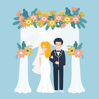 Ilustração com noiva e noivo