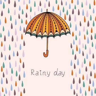 Ilustração com nuvens, chuva e guarda-chuva.