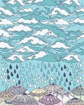 Ilustração, com, nuvens