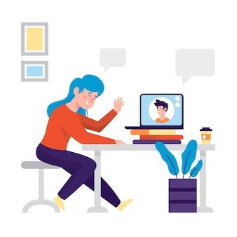 Ilustração com o conceito de chamada de vídeo de amigos