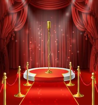 Ilustração com o microfone dourado no pódio, cortinas vermelhas. palco para stand up, performance