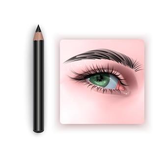 Ilustração com olho feminino verde e lápis de sobrancelha maquiagem
