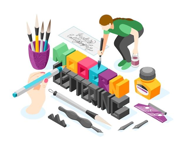 Ilustração com palavras coloridas e mãos humanas segurando instrumentos de escrita com canetas de tinta.