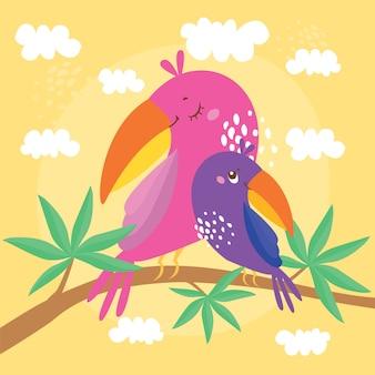 Ilustração com papagaios, mãe e bebê estão sentados em um galho de uma árvore exótica