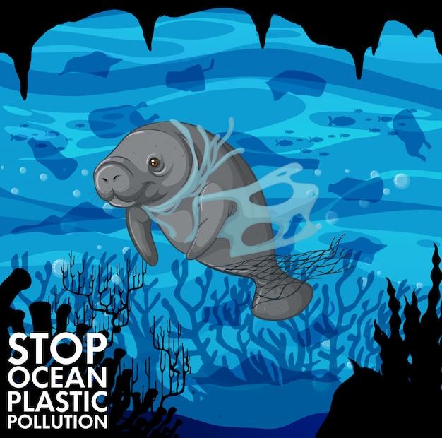 Ilustração com peixe-boi e sacos de plástico debaixo d'água