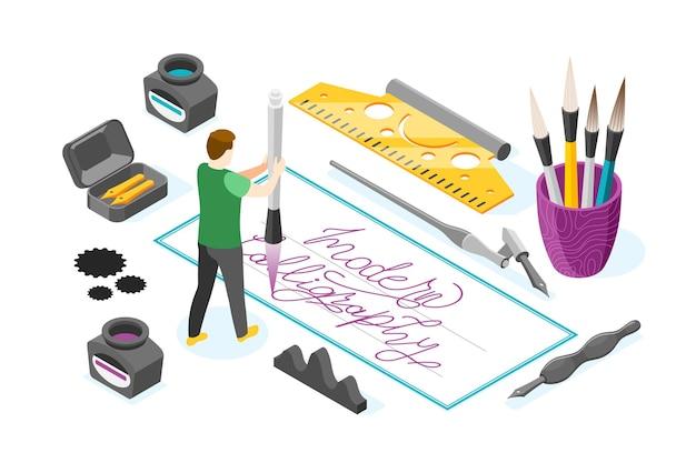 Ilustração com personagem masculino segurando caneta de tinta cercada por imagens de ferramentas de escrita.