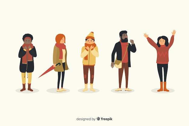 Ilustração com personagem usando coleção de outono