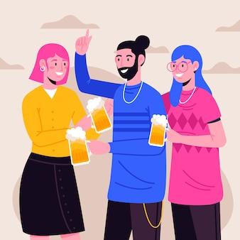 Ilustração com personagens brindando juntos