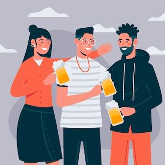 Ilustração com personagens brindando