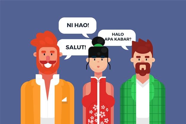 Ilustração com personagens falando em diferentes idiomas