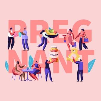 Ilustração com personagens femininos feliz gravidez
