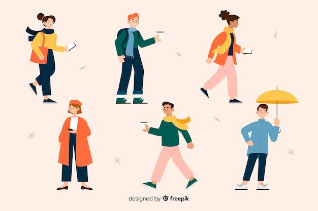 Ilustração com personagens vestindo roupas de outono