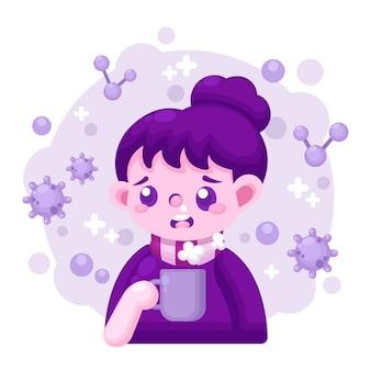 Ilustração com pessoa com gripe