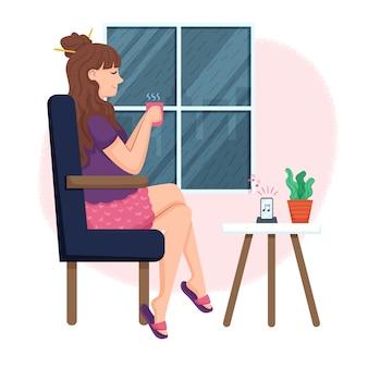 Ilustração com pessoa relaxando em casa