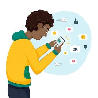 Ilustração com pessoa viciada em mídias sociais