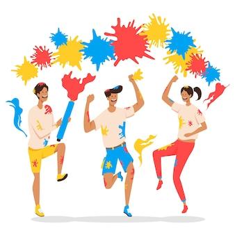 Ilustração com pessoas celebrando o festival de holi