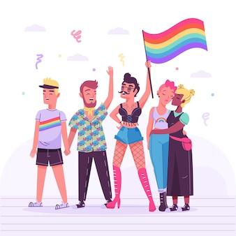 Ilustração com pessoas comemorando o dia do orgulho