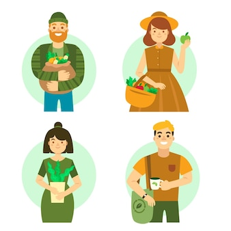Ilustração com pessoas de estilo de vida verde