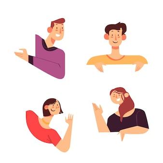 Ilustração com pessoas espiando