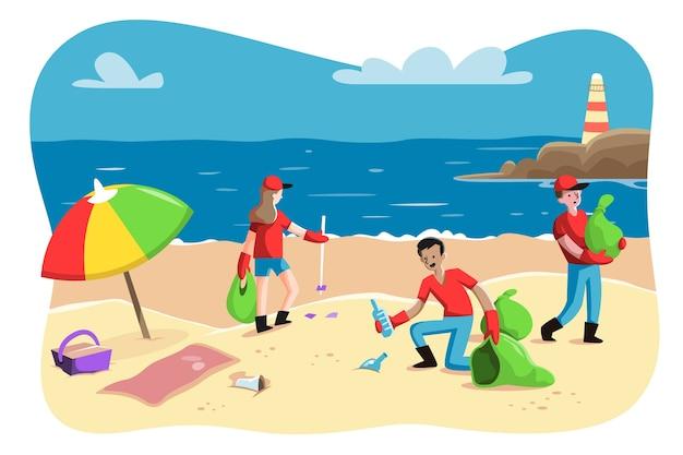 Ilustração com pessoas limpando design praia