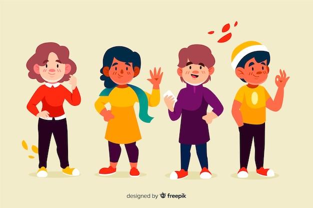 Ilustração com pessoas vestindo roupas de outono