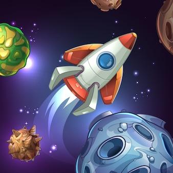 Ilustração com planetas, lua, estrelas e foguete espacial. navio e ciência, astronomia tecnológica, galáxia e ônibus espacial, espaçonave e veículo.