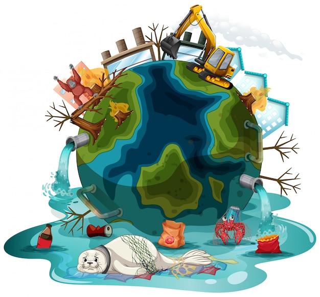 Ilustração com poluições na terra