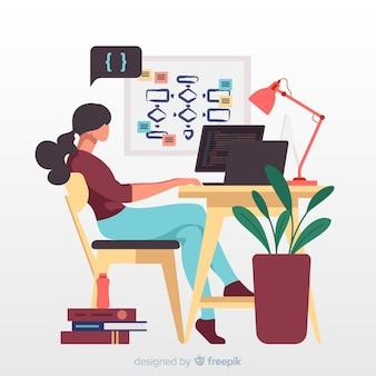 Ilustração com programador trabalhando
