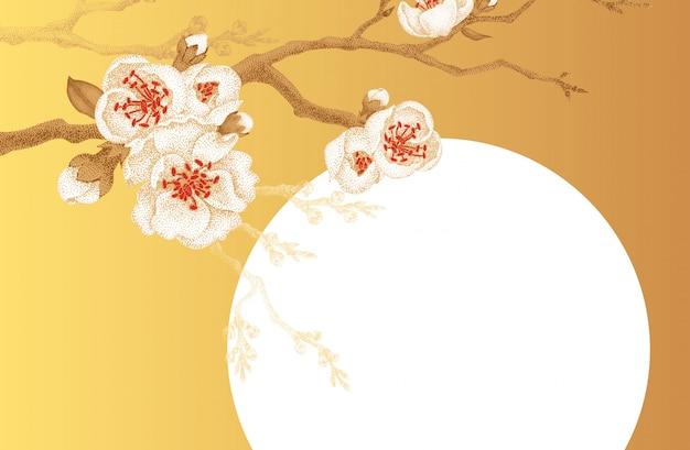 Ilustração, com, sakura, flor