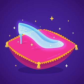 Ilustração com sapato de vidro de cinderela
