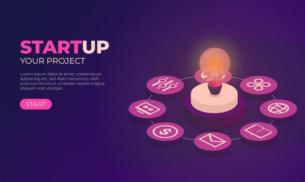 Ilustração, com, startup