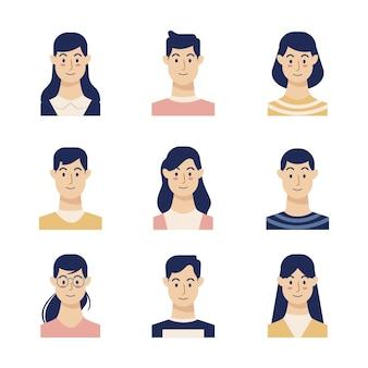 Ilustração com tema de avatares de pessoas