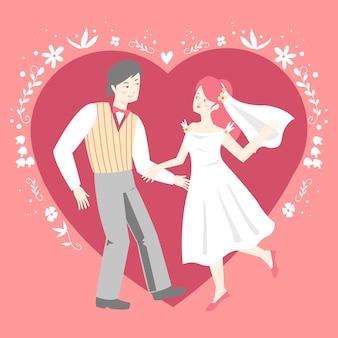 Ilustração com tema de casal de noivos