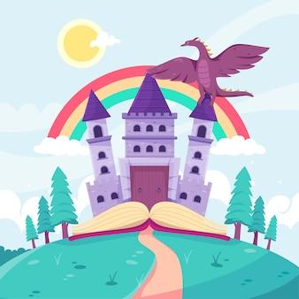 Ilustração com tema de castelo de conto de fadas