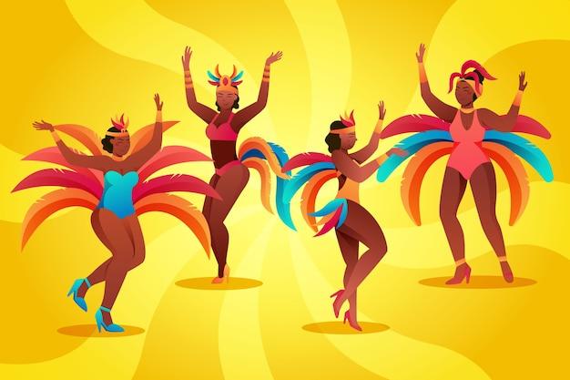 Ilustração com tema de coleção de dançarinos de carnaval