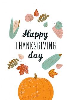 Ilustração com texto feliz dia de ação de graças.