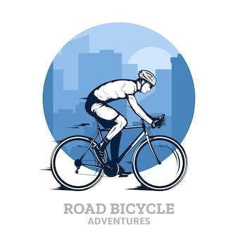 Ilustração com um piloto de bicicleta e a cidade