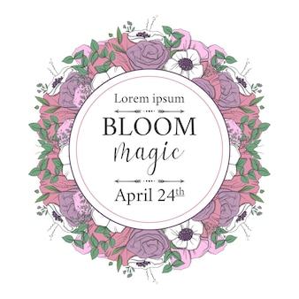 Ilustração com um ramo de flores na primavera para casamento, aniversário, aniversário e festa.