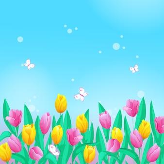Ilustração com uma borda de tulipas, céu e borboletas.