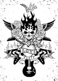 Ilustração com uma guitarra elétrica e tatuagem de crânio humano, revólver, rosas e notas musicais