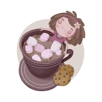 Ilustração com uma menina marshmallow e cacau