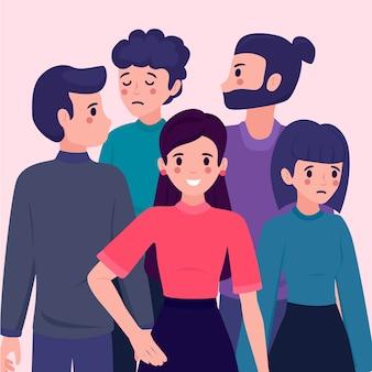 Ilustração com uma pessoa sorrindo no design da multidão
